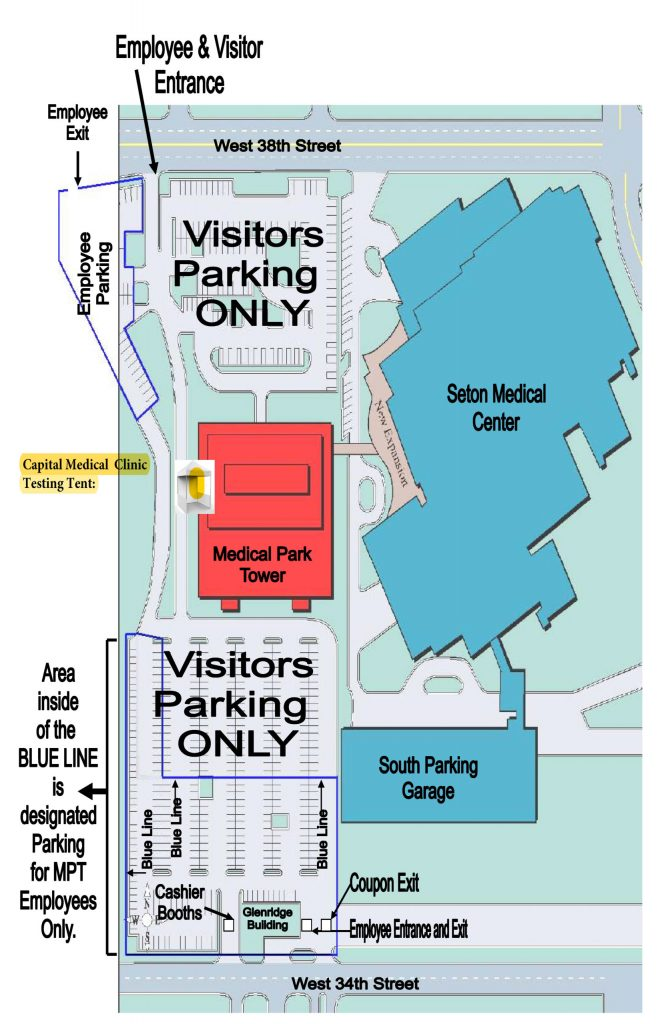 Testing tent parking lot map